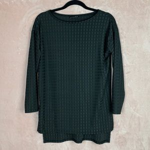 Zara W&B Black Sheer Square Long Sleeve